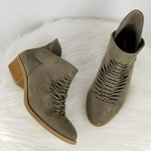 Just Fab Corlynna Vegan Leather Taupe Booties